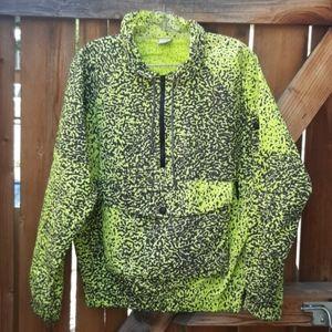Vintage OP half zip jacket large neon yellow black